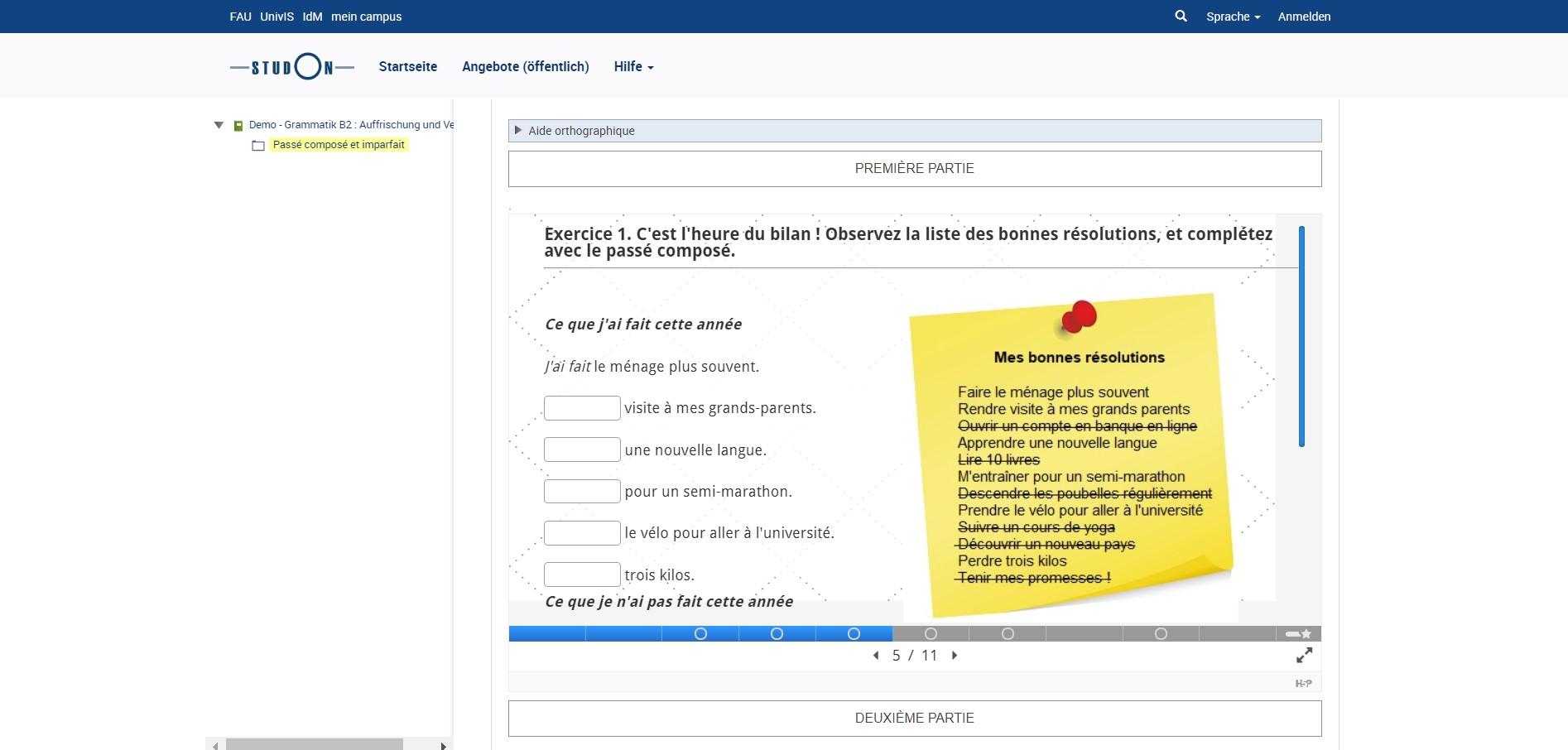 """Screenshot des Kurses """"Grammaire B2"""""""