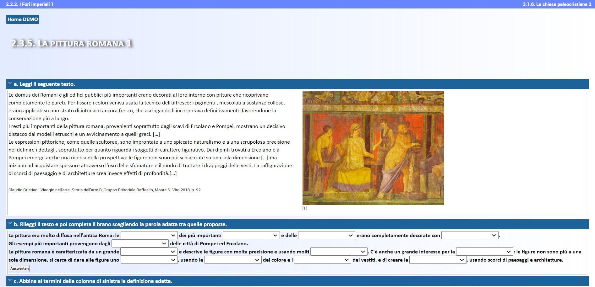 """Screenshot des Kurses """"L'italiano dell'arte"""""""
