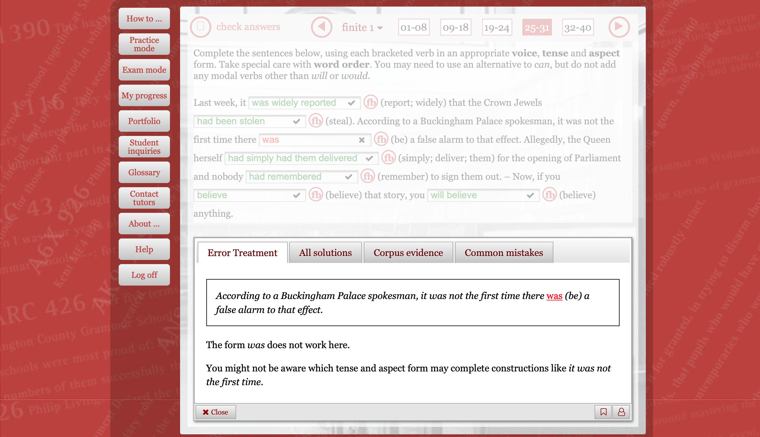 """Screenshot des Kurses """"Remedial Verb Grammar Advanced"""""""